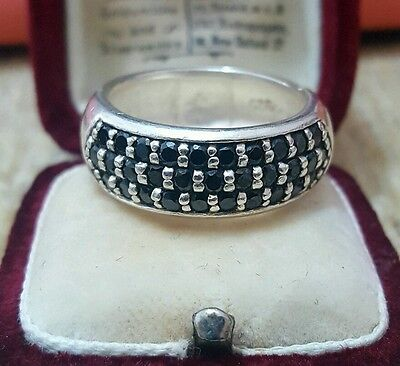 Vintage 925 Solid Silver Men's Ring/band With An Array Of Black Cz, Size T½