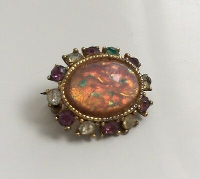 Vintage Costume Jewellery Brooch With Opal Style Stone