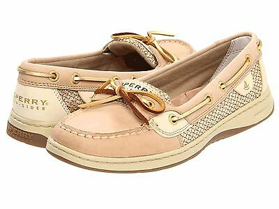 Sperry Top Sider Women's Boat Shoes Leather Size 7 Gold Glitter Cream Beige