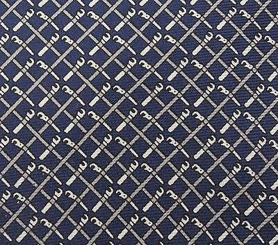 Dunhill Tie Pure Silk Designer Small Repeat Pattern Navy Blue Necktie Italy