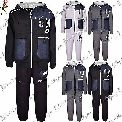 Kids DL Project Fleece Contrast Button Hoodie Hooded Bottoms Jogging Tracksuit