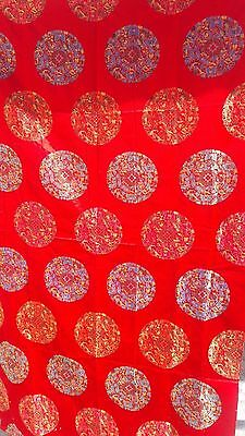 """VINTAGE STYLE CHINESE LARGE BROCADE TEXTILE TRADITION SYMBOLS  72""""x 41"""""""