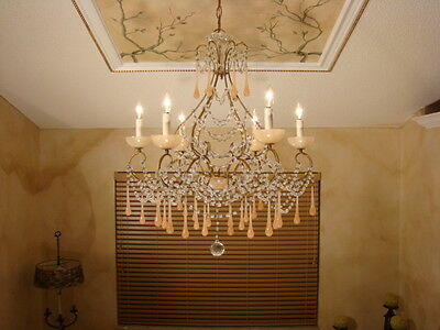 Rare Old Crystal Glass Macaroni Beaded Opaline French Empire Chandelier 6L