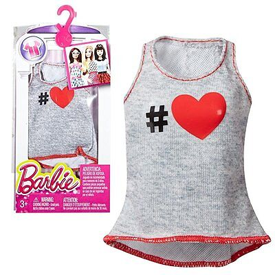 New! 2016 Barbie Fashionistas Fashion Pack Seperates Tops Heather #heart Tank