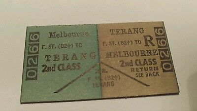 VICTORIAN RAILWAYS TRAIN TICKET  MELBOURNE TO TERANG  2nd CLASS