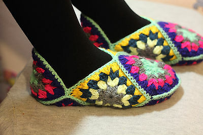 New Handmade Warm Hand Knitted Traditional Russian-Mari Women Unique Slippers