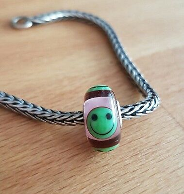 Extremely rare TROLLBEADS GREEN AND transparent PINK SMILEY with packaging