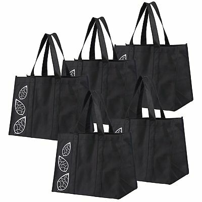 Bekith 5 Piece Large Collapsible Shopping Bags Set,Black Reusable Reinforced