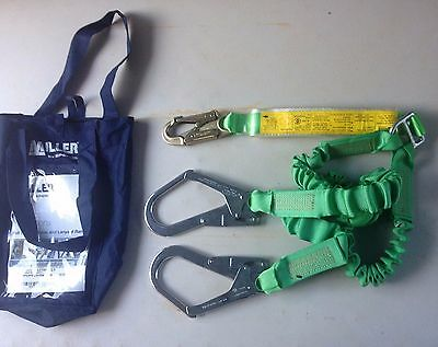 NEW Safety Harness Miller Stretchstop Lanyard-2M Twin Leg+Scaff Hooks RRP$327.00