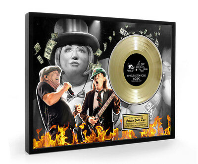 Acdc Whole Lotta Rosie Framed Gold Disc Display ( Large A3 Size )