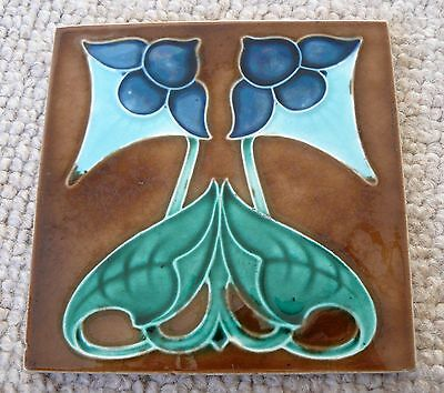 Antique Majolica Corn Bros Art Nouveau Tile Stylised Blue Flowers & Leaves VGC