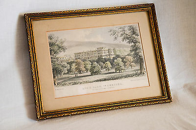 Small Framed Vintage, Colour Engraving LYME PARK , Co. Chester. Stannard & Dixon