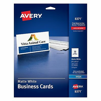 Avery Business Cards for Inkjet Printers, Matte, White, Pack of 250 (8371) 10