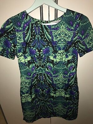 Miss Guided Size 10 Dress Green And Purple Print Floral