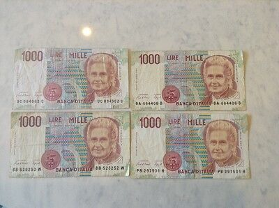 4x 1000 lire Mille bank notes