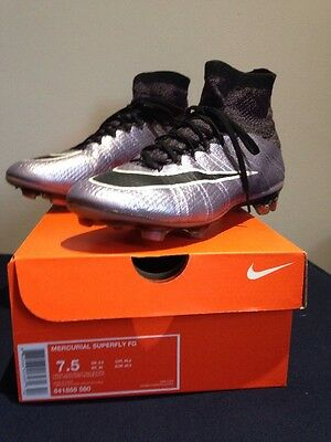 Nike Mercurial Superfly FG Liquid Chrome and Lilac Sock Boots Size 6.5 UK