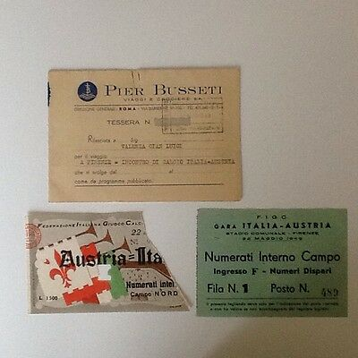 1949 Italy V Austria Travel & Match Tickets 22-5-49