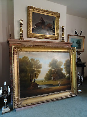 A Huge Beautiful Edwardian English Country Landscape Oil Painting - 1 Of A Pair