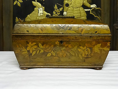 MAGNIFICENT 18thc GEORGE III SARCOPHAGUS MARQUETRY INLAID TEA CADDY JEWELRY BOX