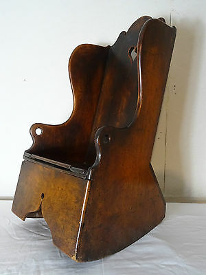 GEORGE II 18th CENTURY COUNTRY OAK CHILD'S COMMODE ROCKING CHAIR - TEDDY BEAR ??