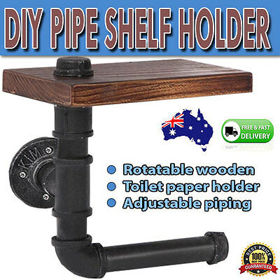 Toilet Paper Roll Holder Rustic Industrial DIY Floating Pipe Shelf Bathroom
