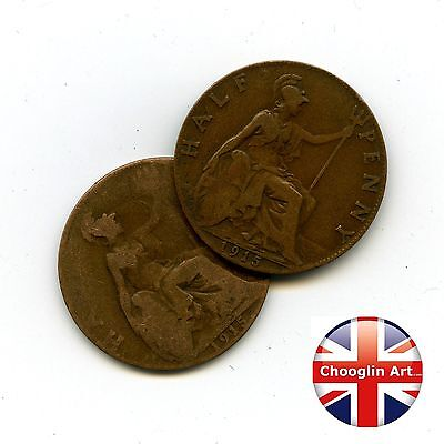 Pair 1915 British Bronze GEORGE V HALFPENNY Coins