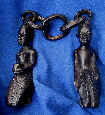 African Wood wedding carved Male and female figurines with carved chain