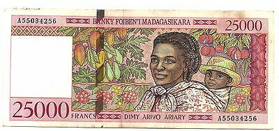 25000 Francs Madagascar Banknote Low Shipping! Combine FREE!