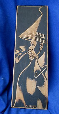 Vintage Aboriginal African tribal wood poker art wall plaque signed A Mtetwa