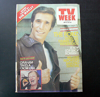 TV WEEK May 12 1979 The Fonz Henry Winkler Bob Marley Pin Up Graham Kennedy Cop