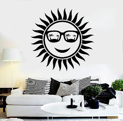 Vinyl Wall Decal Positive Sun Glasses Palms Beach Stickers Mural (ig4467)