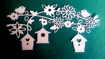 4 x Die Cut BIRDHOUSE HEIGHTS, Spring, Easter - Toppers, Cards, Crafts - WHITE