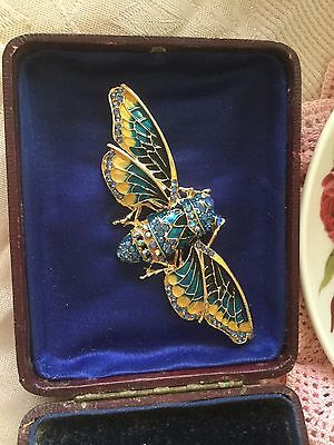 Large Vintage Brooch Pin Cicada with gold blue green and yellow enamel