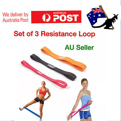 OZ 3 SET RESISTANCE BANDS Heavy Duty Power GYM Yoga Home Exercise Workout Loop