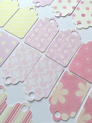 24 X Mini Pastel Pink/yellow Tags Card making ,Scrap Booking, Gifts, Price Tags