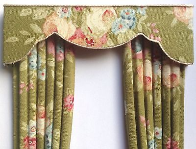 12th OLIVE ROSES Dollhouse Curtains LARGER SIZE 5 X 8""