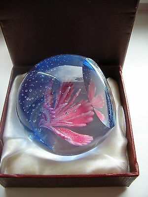 """Glass paperweight """" Floral Festival """" boxed"""