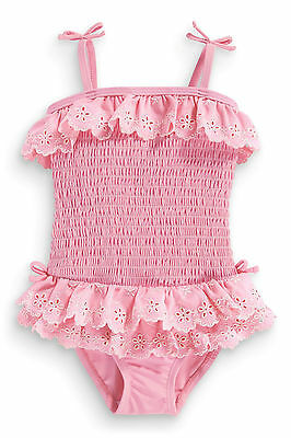 ••• ВNWT NEXT Girls • Pink Ruffle Lace Embroidered Swimsuit • 9-12 Months