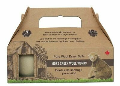 Moss Creek Organic Wool Dryer Balls Eco Anti Static for Clothes Replaces Fabric