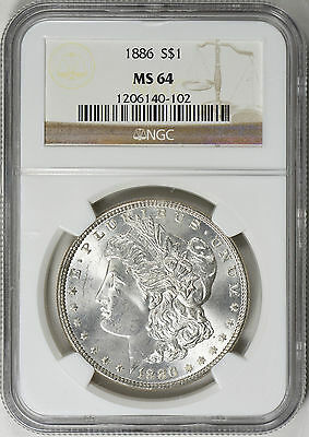 "1886 Morgan Silver Dollar Ngc Ms-64  ""gorgeous """