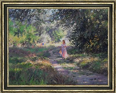 "Original Impressionism Oil painting landscape art park on canvas 30""x40"""