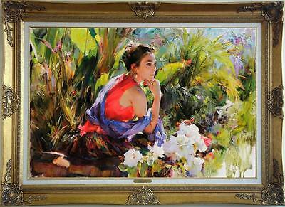 "Oil Painting Original art Impressionism Portrait girl flower on canvas 24""x36"""