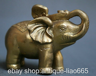 "5.7"" Chinese Pure Bronze Gilding Fengshui Marked Ruyi Auspicious Elephant Statue"