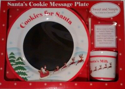 NEW  Cookies For Santa Message Plate & Milk Cup  NEW Chalkboard