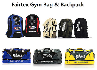 Fairtex Muay Thai Boxing Gym Bag Backpack Black Red Blue Gray MMA K1 All Sports