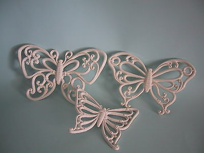 Syroco Vintage Butterfly Set Of 3 White  Mint