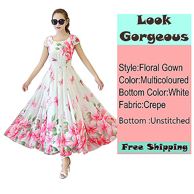 Multicoloured Crepe Floral Gown Semi-Stitched Suit Party Wear