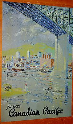 1947 Canadian Pacific Reprint Ad With Montreal Jacques-Cartier Bridge Artwork