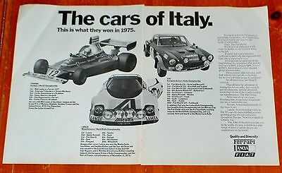 Canadian 1975 Ferrari Fiat Lancia Race Cars Ad - The Cars Of Italy / Vintage 70S