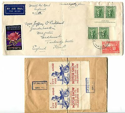 2 scarce Australia 1938 covers to England with Poster stamps.